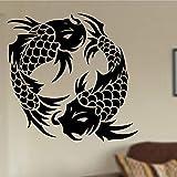 wopiaol Koi Fisch Wandtattoo Schlafzimmer Küche Restaurant Kunst Innenarchitektur Dekor Fische Japanischer Stil Yin Yang Wandbild Vinyl Aufkleber
