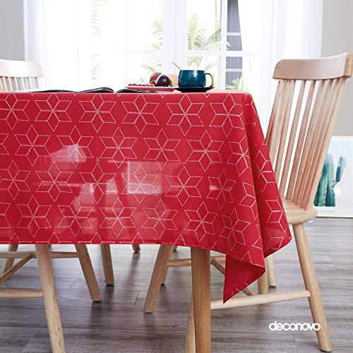Deconovo Tovaglia Natale di Oxford Natalizia Antimacchia Impermeabile Rettangolare Copritavolo per Tavolo Moderno Geometrico Argento 130x130cm Rosso