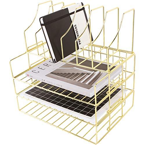 Bandeja de archivos apilables Simmer Stone, bandejas de papel de 3 niveles más porta revistas, estante de alambre para organizador de escritorio para cartas, documentos, carpetas y libros, dorado