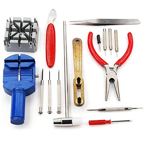 REY Kit de 16 Herramientas de Relojero para la Reparación de Relojes