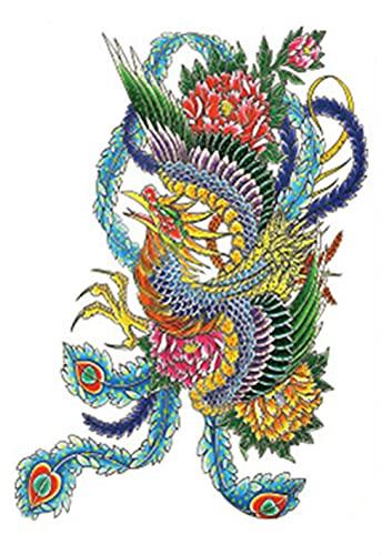 Flor De Ave Fénix Brazo De Flor 15x21cm-3Pcs Lote De Tatuajes Temporales De Moda Tatuajes De Papel De Gran Tamaño Tatuaje Tatuajes Falsos Arte Corporal Pegatina Tatuajes De Transferencia Temporal Pa