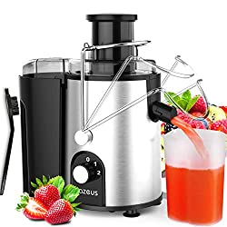 AZEUS Centrifugal Juicer Machines, Juice Extractor with Germany-Made 163 Chopping Blades (Titanium Reinforced) & 2-Layer Centrifugal Bowl, High Juice Yield, Easy to Clean, Anti-Drip,100% BPA-Free, ETL Listed, Catcher & Brush Included