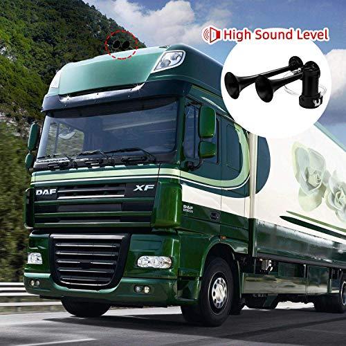 HK 12V 150db Car Air Horn, Super Loud Dual Trumpet Air Horn Kit with Compressor for Any 12V Vehicles Trucks Lorrys Trains Boats Cars Vans Kit (Black)