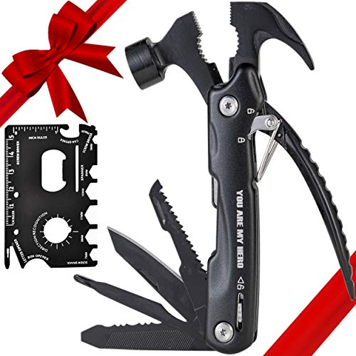 ArrayStars Multitool Hammer Gifts for Men / Camping - Birthday Gifts for Dad / Father / Boyfriend / Husband, 12 in 1 Cool Gadgets & Survival Gear, Come With 18 in 1 Credit Card Sized Multitool Card