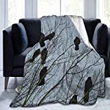 Extra Soft Sherpa Flannel Fleece Throw Wrap Cover Cloak for Bed Couch Chair Living Room, Black Crow Raven Bird Queen Size School Blankets Throw Wearable Cuddle