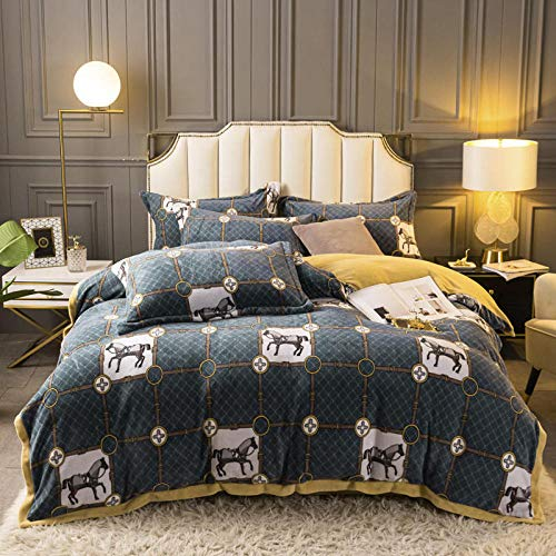 Shinon teddy fleece duvet set black-Autumn and winter thick warm flannel bed sheet bed sheet king size Christmas duvet cover pillowcase bedding-E_2.0m bed (4 pieces)
