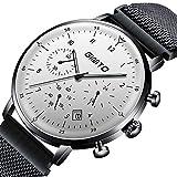 GIMTO Luxusmarke Herrenuhr Stahl Wasserdicht Datum Uhr Quarz Chronograph Männlich Military Casual Sportuhren,A