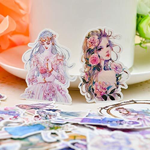 PMSMT 33 Piezas Acuarela Flores Bailarinas Pegatinas Diario Cuaderno planificador/Manual DIY Carta adesivos Flor Diario Pegatina
