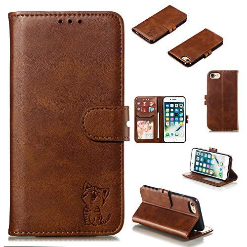 ZCDAYE Funda tipo cartera para iPhone 7 Plus iPhone 8 Plus, funda de piel sintética de alta calidad, diseño de gato feliz, con hebilla magnética, ranuras para tarjetas, funda protectora, marrón