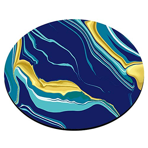 Smooffly Round Gaming Mouse Pad Custom Design,Marble Texture Mouse pad,Yellow Blue Green Golden Fluid Marble Hispster Ink Luxury Elegant Colorful Photo #4