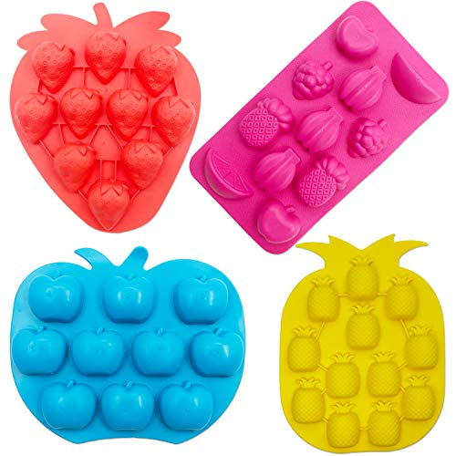 SAKOLLA Chocolate Candy Silicone Mold, Strawberries/Pineapples/Apples/Grapes Flexible Baking Molds for Ice Cube, Jelly, Biscuits, Gummy Candies - Set of 4(Color random)
