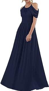 Jonlyc Women's A-Line Halter Chiffon Long Bridesmaid Evening Dresses