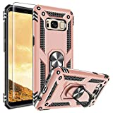 Galaxy S8 Plus Case, Samsung S8 Plus Phone Case with 3D PET Screen Protector, Gritup [ Military Grade ] Metal Ring Kickstand Designed 15ft. Drop Tested Cover Case for Galaxy S8 Plus Rose Gold