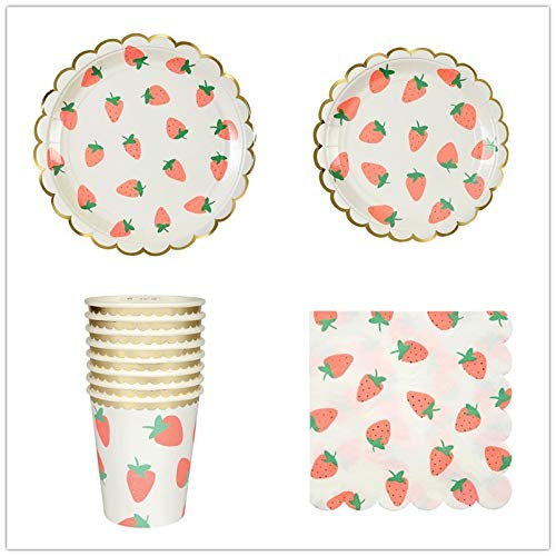 65 Pieces Strawberry Themed Party Supplies Included Paper Plate and Cup Tissue For Boys And Girls Birthday Cutlery Set