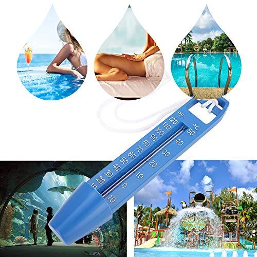Drijvende thermometer, 2 stuks 24,5x4,2 cm zwembadthermometer, -10~50 ℃/10~120 ℉ Zwembadtemperatuurmeter, drijvende thermometer voor SPA-sauna, hete lente, onbreekbaar kunststof