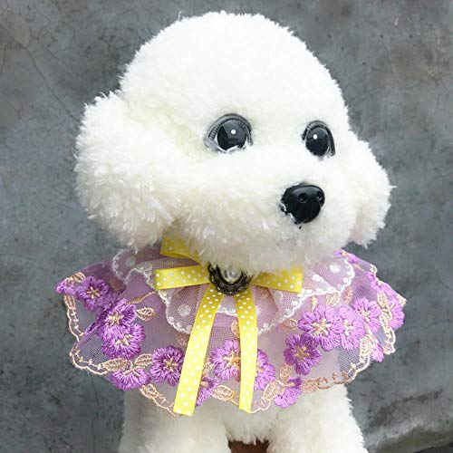 Collar de encaje para mascotas con diseño de gato, hecho a mano, corona de gato, flor artificial, tocado accesorios-Púrpura_XS