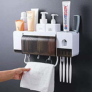 Automatic Toothpaste Dispenser Squeezer Wall Mount and Anti-dust Toothbrush Holder, Multi-Functional Space Saving Toothbru...