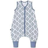 Premium Baby Schlafsack mit Füßen Sommer, Bequem & Atmungsaktiv, 100% Bio-Baumwolle, Oeko-TEX Zertifiziert, Flauschig, Bewegungsfreiheit, 1.0 TOG von emma & noah (Rauten Blau, 90 cm)