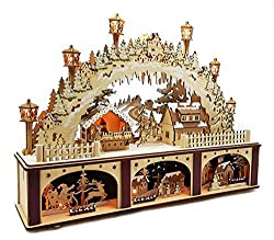 Wichtelstube Collection XL LED candle arch with pedestal Christmas village Original