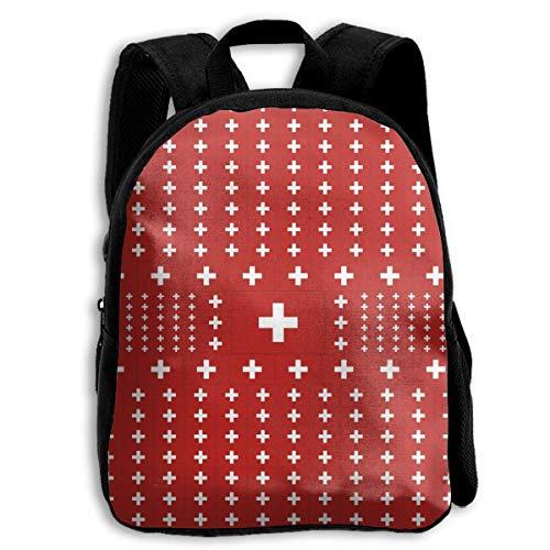 jenny-shop Switzerland Flag Toddler Backpack Mochilas Escolares para niños de 13 'para niños y niñas