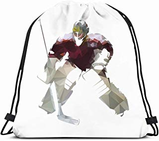 Ahawoso Drawstring Backpack String Bag 14X16 Goalkeeper Ice Hockey Goalie Dark Red Jersey People Sports Recreation Action Cool Geometrical Equipment Face Sport Gym Sackpack Hiking Yoga Travel Beach