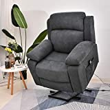 Electric Power Lift Recliner Chair for Elderly with Massage and Heat Vibration with Remote, Liner Recliner Chair with Horseshoe Seat (Gray-2)