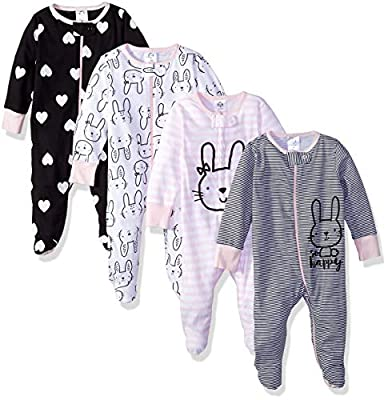 Gerber Baby Girls' 4 Pack Sleep N' Play Footies, Bunny Smiley, 3-6 Months