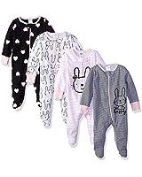 Gerber Baby Girls' 4 Pack Sleep N' Play Footie, Bunny Smiley, Newborn