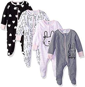Gerber Baby Girls' 4-Pack Sleep 'N Play, Bunny, 6-9 Months