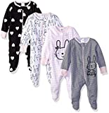 Gerber Baby Girls' 4 Pack Sleep 'N Play Footie, Bunny Smiley, Newborn