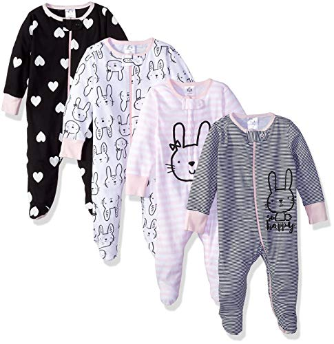 Gerber Baby Girls' 4 Pack Sleep N' Play Footies, Bunny Smiley, 6-9 Months