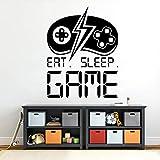 Tianpengyuanshuai Eat Sleep Game Decal Player Sticker Etiqueta de la Pared Gift Game Room Decoración Personalizada para niños -75x97cm