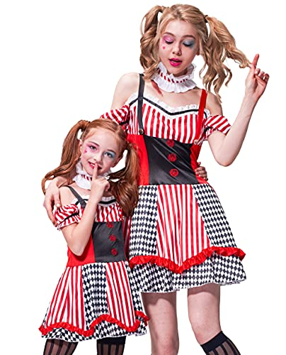 IKALI Clown Costume Parents and Kids Halloween Sinister Jester Funny Role Play Dree Up for Family Theme Party