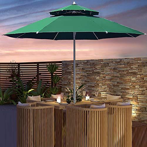 JLXJ Garden Parasols 2.7m /9 Feet Patio Table Umbrella, Large Garden Sunbrella with Steel Double Layer Ribs and Ventilation, for Lawn/Pool/beach/market (Color : Green)
