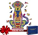 """Wooden Jigsaw Puzzles - Labrador Animals Shaped Puzzles, Unique Shapes of Jigsaw Pieces, Best Gift for Adults and Kids, Family Game Play Collection, 103 pcs(6.3""""x9.25"""")"""