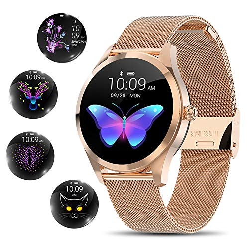 Smart Watch for Women, Yocuby Novel/Stylish/Beautiful Smartwatch Bluetooth Fitness Tracker for Ladies with IP68 Waterproof, Female Period Tool, Heart Rate Sleep Monitor Calorie Counter, Gold