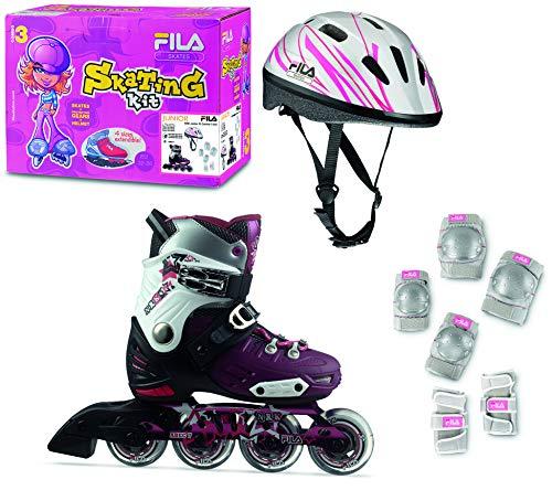 Fila Kinder NRK Jr. G Combo 3 Inlineskate Set, schwarz/pink, L36-39