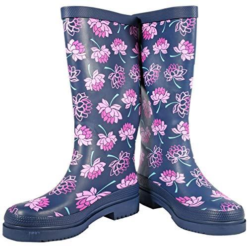 Ultrapower Damen Gummistiefel | Lustige Langschaft Gummi Schuhe | Blumen Design Garten-Stiefel | Matschstiefel | Festivalstiefel, Größe:40 / UK 6.5, Farbe:Lena