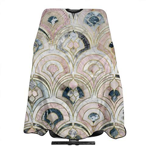 Art Deco Carreaux de marbre doux et imperméable, tablier de coiffure, cape professionnelle pour homme et femme, coupe de cheveux et coiffure, tissu antistatique, 139,7 x 167,6 cm