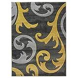 Alfombra de diseño moderno de damasco tallada a mano, suave, de calidad, color gris ocre, en 5 tamaños (160 x 230 cm)