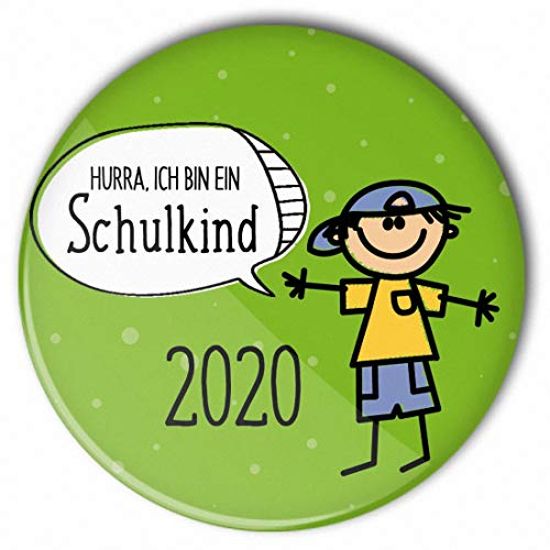 stylebutton® Button Anstecker Schulkinder 2020 Geschenk zum Schulanfang/Einschulung 56 mm (#6 Hurra Junge grün)