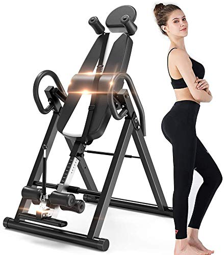 QYL Black Foldable Gravity Heavy Duty Inversion Table with Headrest & Adjustable Protective Belt Back Stretcher Machine for Pain Relief Therapy