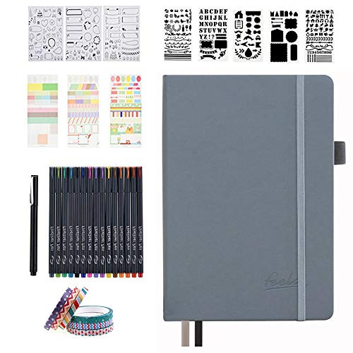 Bullet Doted Journal Kit,Feela A5 Diaz poited Bullet Grid Journal insieme con grigi Notebook,Fineliner Pens,Reuitable Stencils,Sticker Sheets,Washi Tape,Black Pen for Diary,Schedule Plan,Disegno