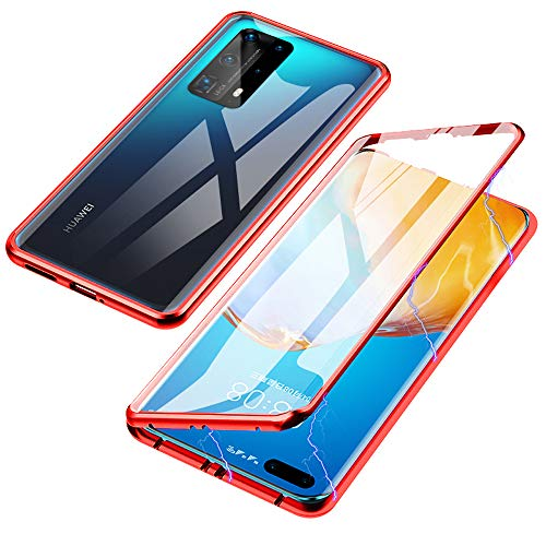 Jonwelsy Magnetic Adsorption Case for Huawei P40 Pro+, 360 Degree Front and Back Clear Tempered Glass Flip Cover, Metal Bumper Frame for Huawei P40 Pro Plus (red)