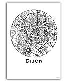 Plakat Dijon Frankreich Minimalist Map - Poster, City Map,