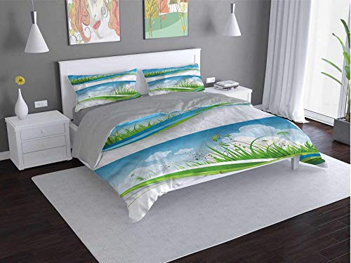 Toopeek Nature Quilt cover 3-piece set Fresh-Summer-Fields-Eco Super soft and easy to maintain (Queen)
