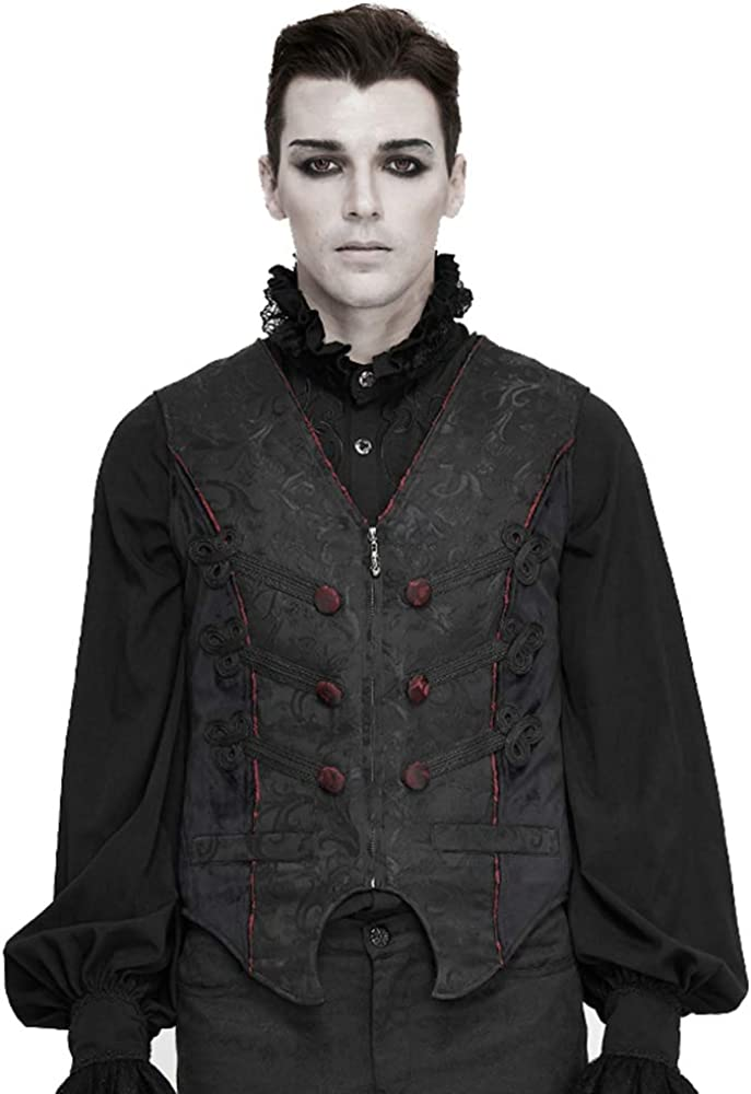 Gothic Mens Suit Vest Vintage Jacquard Tailed Waistcoat Embroidery Pattern, Prom Dress for Men (Black, 3XL)