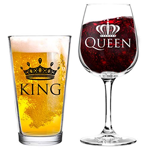 King and Queen Beer and Wine Glass Gift Set of 2