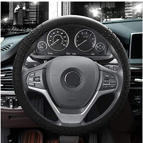 JYPC Silicone Steering Wheel Cover,Non-Slip and Sweat Absorbent, Universal 14 to 15 inches (Black)