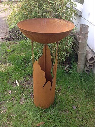Zen Man Edelrost tuin vuurschaal rooster plantenschaal rooster 60 cm 1,8 m met standaard H100cm handwerk 101601